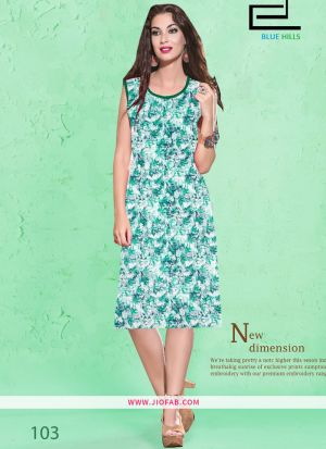 Sea Green Cotton Fabric Stitched Summer Kurti Collection