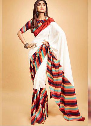 Shilpa Shetty White Digital Print Party Wear Saree