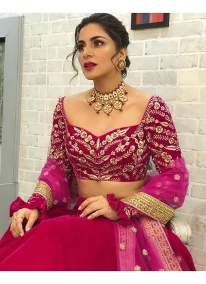 Shraddha Arya Wine Color Bollywood Celebrity Lehenga Choli