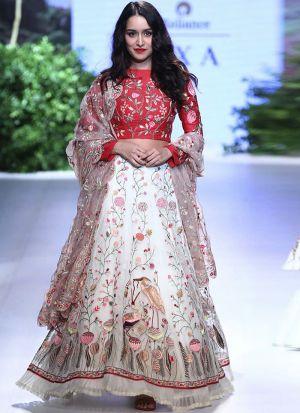 Shraddha Kapoor Banglori Silk White Bollywood Lehenga Choli
