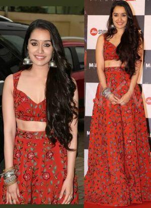 Shraddha Kapoor Red Banglori Silk Fancy Thread Work Lehenga Choli With Mono Net Dupatta