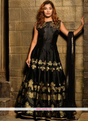 Silk Black Hand Work Festival Trendy Gown