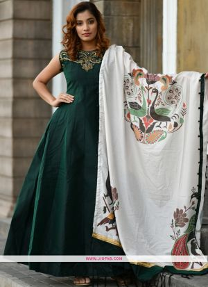 Silk Green Hand Work Festival Trendy Gown
