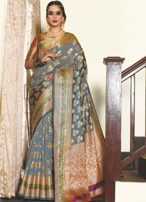 Silk Grey Ceremonial Trendy Saree