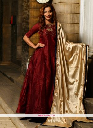 Silk Maroon Hand Work Festival Trendy Gown