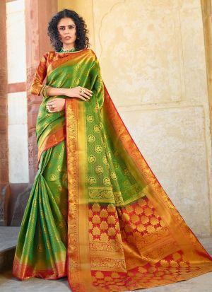 Silk Parrot Color South Indian Saree