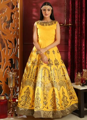 Silk Yellow Color Designer Gown