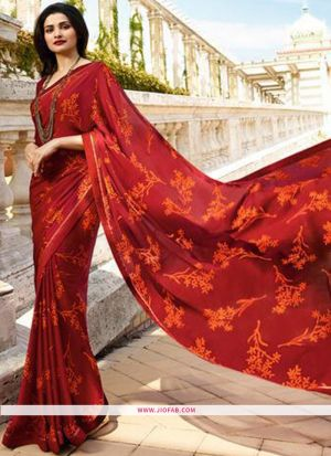 Simple Printed Red Saree With Fancy Heavy Lace Border