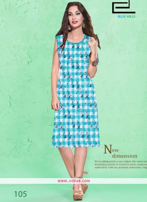 Sky Blue Cotton Fabric Stitched Summer Kurti Collection