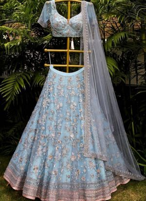Sky Blue Designer Wedding Wear Lehenga Choli With Butterfly Net Dupatta