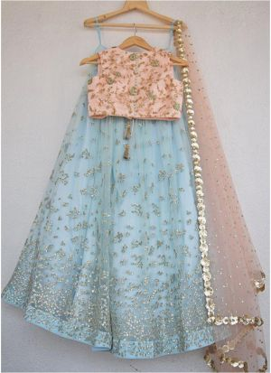 Sky Blue Net Latest Hit Design Lehenga Choli