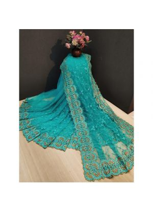 Sky Blue Party Wear Latest Designer Fancy Saree Collection