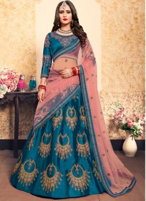 Sky Blue Satin Designer Lehenga Choli For Sangeet