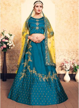 Sky Blue Satin Designer Lehenga For Engagement