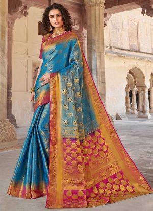 Sky Blue Silk Indian Traditional Saree