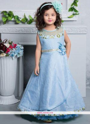 Sky Blue Silk New Designer Kids Wear Gown