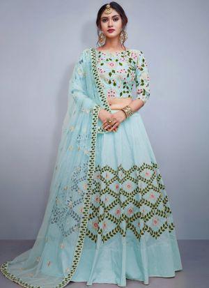 Sky Blue Tafetta Silk Volume 8 Bride Maids Lehenga Choli