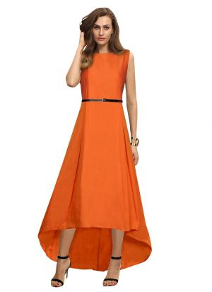 Sleeveless Orange Evening Gown