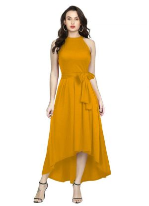 Sleeveless Yellow Western Gown
