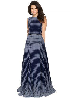 Sleevless Blue Evening Gown