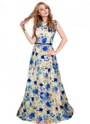 Sleevless Blue Gown