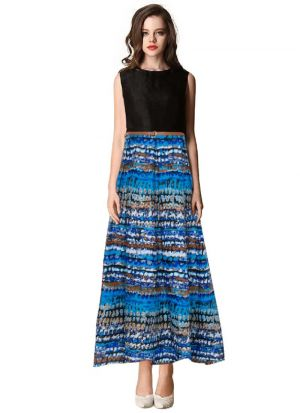 Sleevless Blue Party Wear Gown