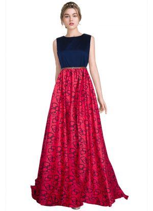 Sleevless Gajari Color Western Gown