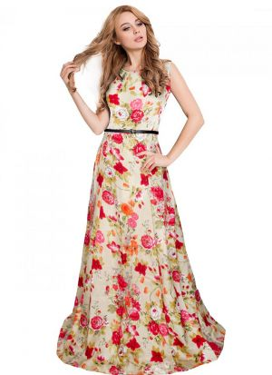Sleevless Pink Long Formal Gown