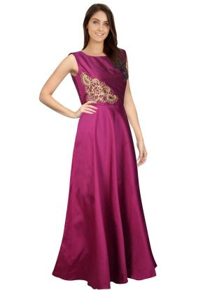 Sleevless Pink Western Gown