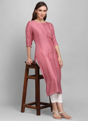 Slit Cut Heavy Rayon Light Pink Colour Kurti