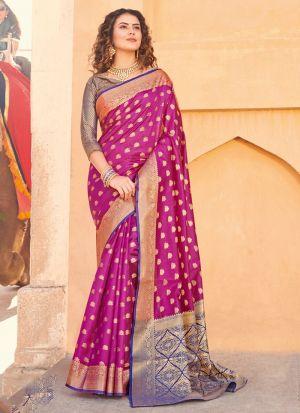 South Indian Wedding Handloom Silk Magenta Saree