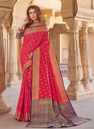 South Indian Wedding Handloom Silk Red Color Saree
