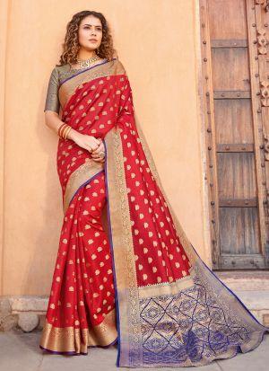 South Indian Wedding Handloom Silk Red Saree