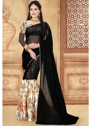 SS-99 Partywear 60 Gm Designer Ruffle Saree With Moti Border
