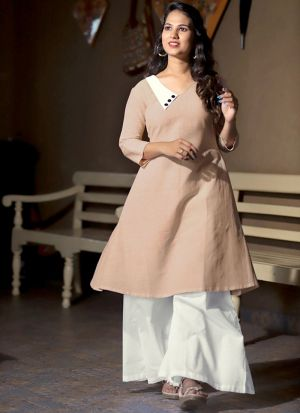 Stunning Light Brown Party Wear Palazzo Suit