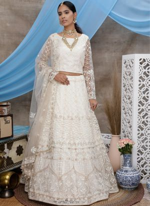 Stunning White Embroidered Party Wear Lehenga Choli