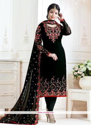 Stylish Black And Red Embroidered Georgette Bollywood Salwar Suit