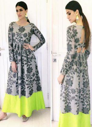 Stylish Kriti Sanon Style Grey Bollywood Gown