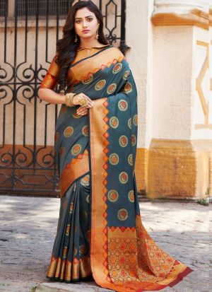 Stylish Look Banarasi Silk Grey Indian Wear Saree