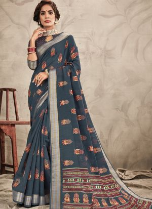 Stylish Look Chanderi Grey Indian Wear Saree