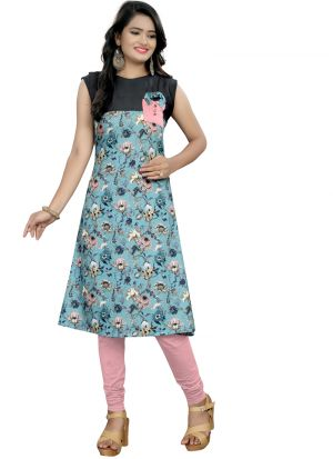 Stylish Pocket Pattern Sea Green Rayon Floral Print Kurti