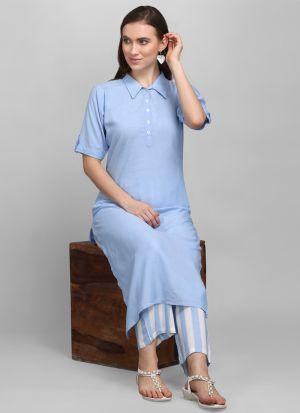 Stylish Sky Blue Colar Style Long Kurti