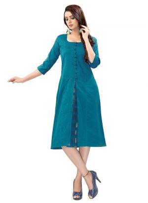 Stylish Womens Cotton Silk Blue Kurti