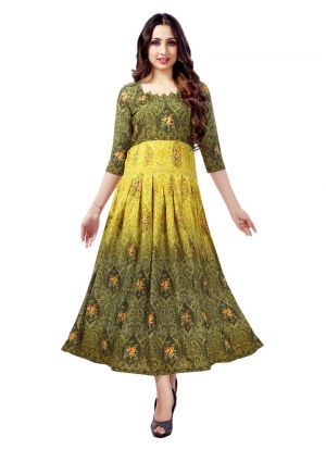 Stylish Womens Pure Heavy Rayon Green Kurti
