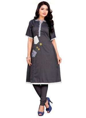 Sunflower Design Grey Plain Kurti With Handwork