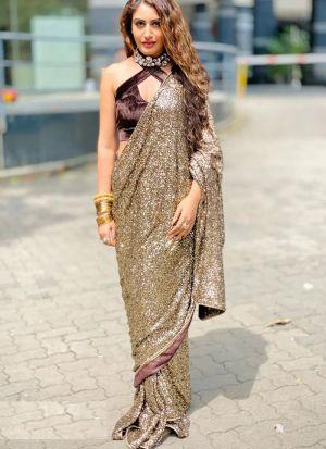 Surbhi Chandna Style Attractive Brown Georgette Sequence Work Saree