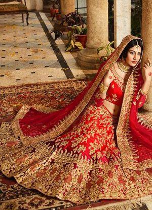 Taffeta Silk Red Bridal Lehenga With Heavy Naylon Net Dupatta