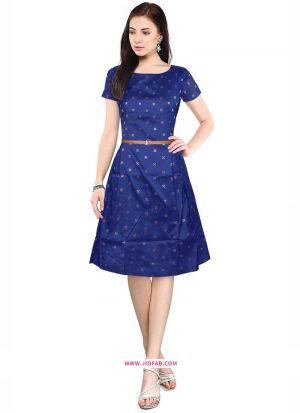 Taffeta Western Wear Frock In Blue Color
