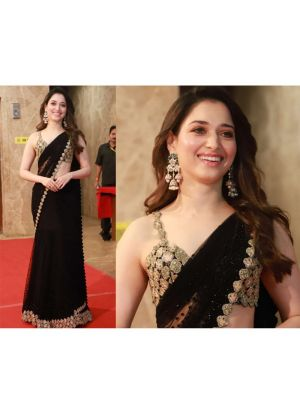 Tamannaah Bhatia Heavy Georgette Black Bollywood Celebrity Saree