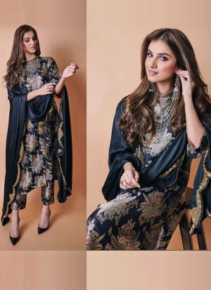 Tara Sutaria Black Satin Silk Salwar Suit